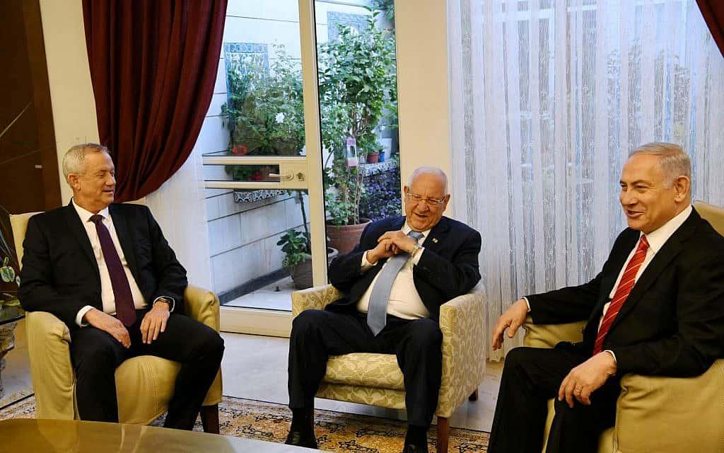 """בנימין נתניהו, בני גנץ וראובן ריבלין בפגישה בבית הנשיא (צילום: עמוס בן גרשום/ לע""""מ)"""