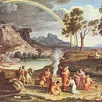 נוח ובניו אחרי המבול. ציור: ג'וזף אנטון קוך