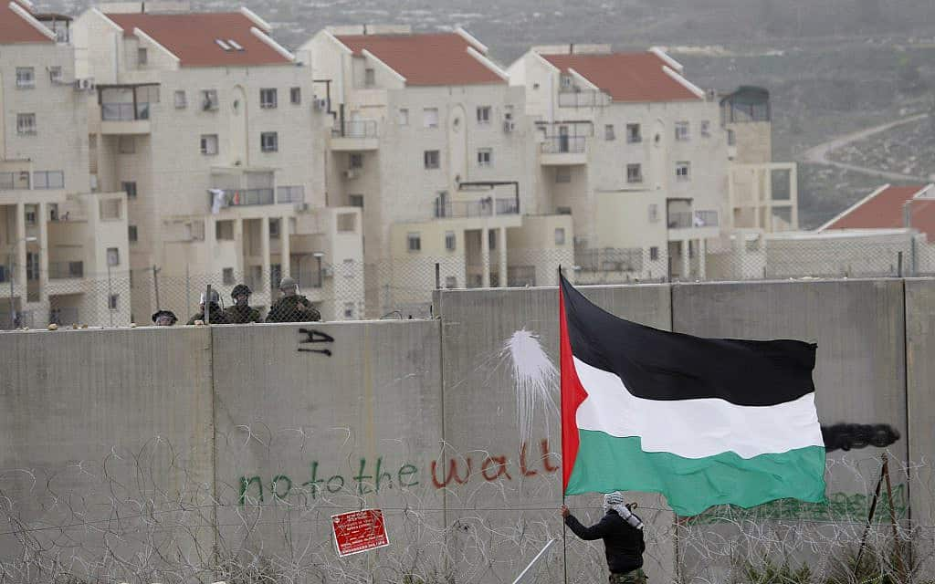 a protester waves a Palestinian flag in front of Israeli troops during a protest against Israel's separation barrier, between the West Bank village of Bilin and the Jewish settlement of Modiin Illit, near Ramallah (צילום: AP Photo-Majdi Mohammed)