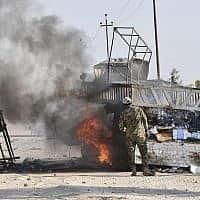 תוצאות תקיפת המל״ט במחוז אנבאר, עיראק (צילום: (PMF דרך AP))