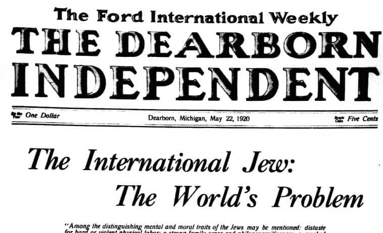 """כותרת אנטישמית בשבועון של הנרי פורד, ה""""דירבורן אינדיפנדנט"""", 1920 (צילום: רשות הציבור, באמצעות ויקישיתוף)"""