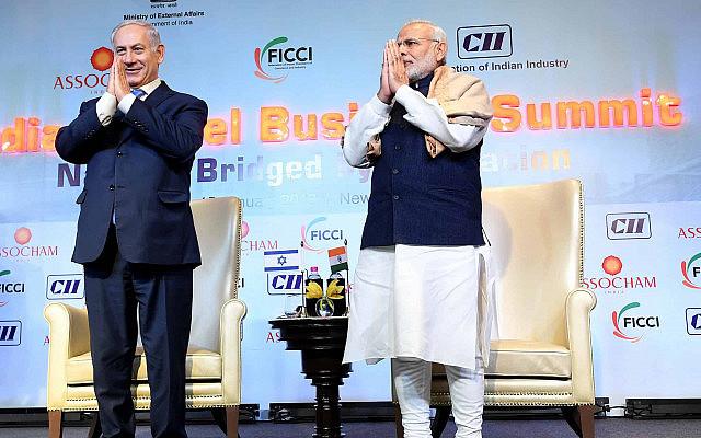 ראש ממשלת הודו נרנדרה מודי ובנימין נתניהו בכנס כלכה הודי-ישראלי בניו דלהי, ב-15 בינואר 2018 (צילום: אבי אוחיון/לע״מ)