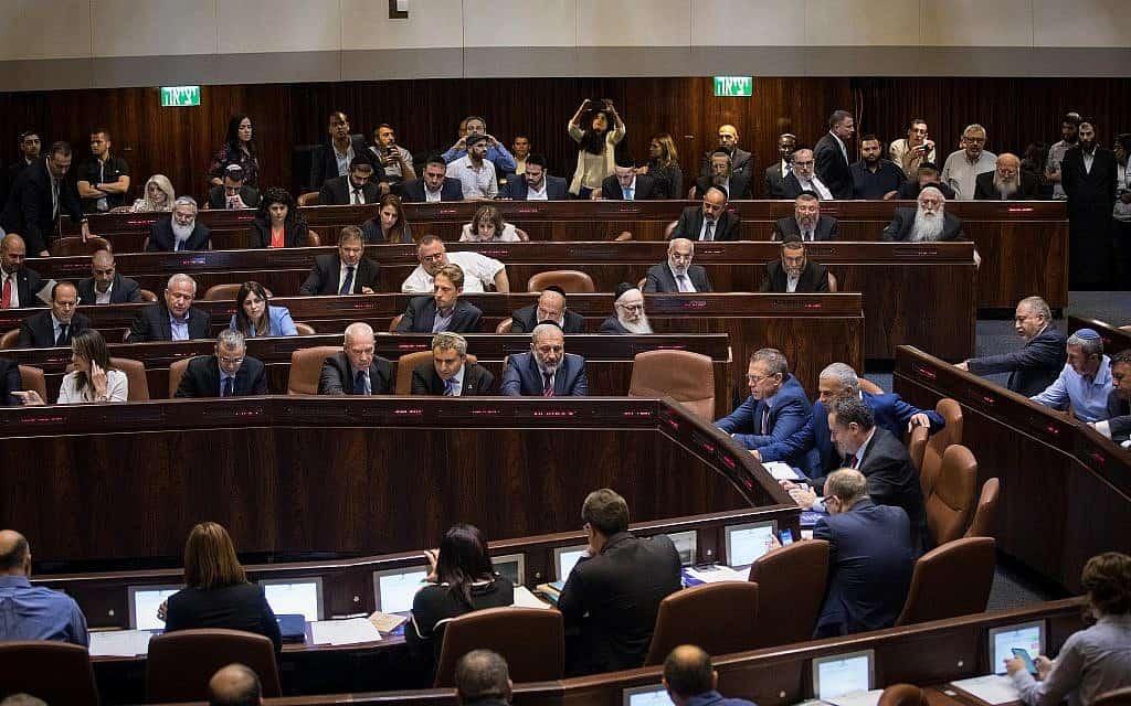 הצבעת חברי כנסת על הצעת החוק לפיזור הכנסת, 27 במאי 2019 (צילום: Hadas Parush/Flash90)