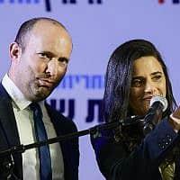 נפתלי בנט ואיילת שקד במסיבת העיתונאים של הימין החדש בה הכריזו כי שקד תעמוד בראש המפלגה. 21 ביולי 2019 (צילום: תומר נויברג/פלאש90)