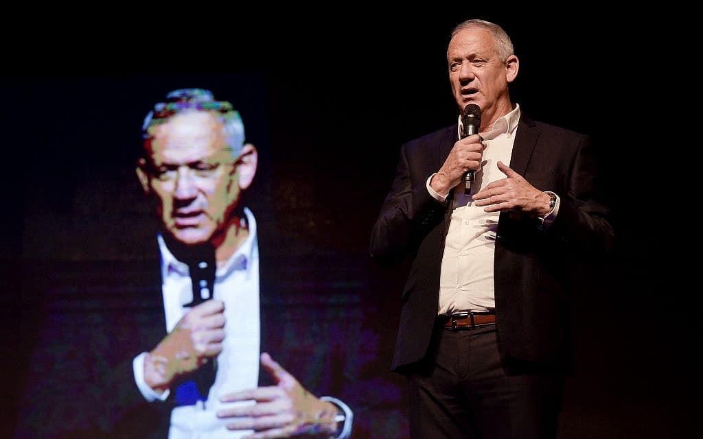 בני גנץ בכנס בחירות של כחול-לבן בתל אביב, ב-9 בספטמבר 2019 (צילום: פלאש90)