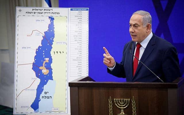 נתניהו במהלך מסיבת העיתונאים בה הודיע כי יחיל את הריבונות על בקעת הירדן (צילום: פלאש90/הדס פרוש)