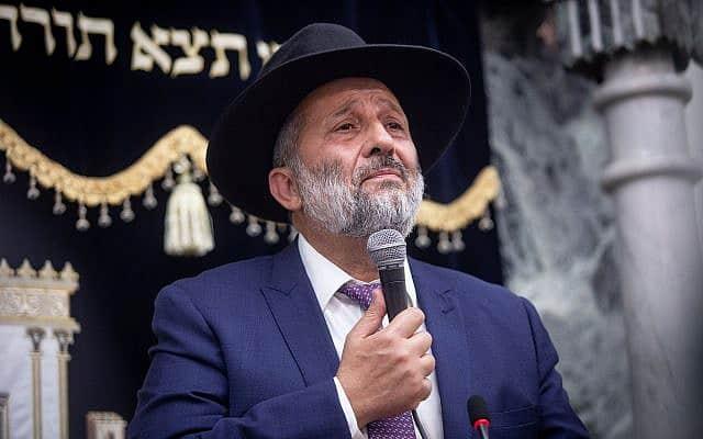 אריה דרעי בבית הכנסת היזדים ב-14 בספטמבר 2019 (צילום: Aharon Krohn/Flash90)