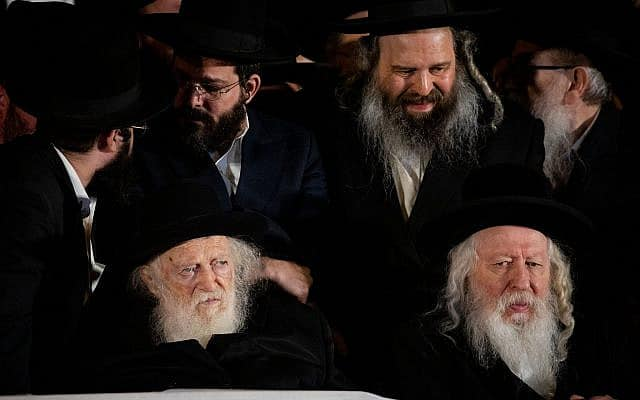 הרב יעקב אריה אלטר מחסידות גור ורבי חיים קנייבסקי בכנס יהדות התורה (צילום: Yonatan Sindel/Flash90)