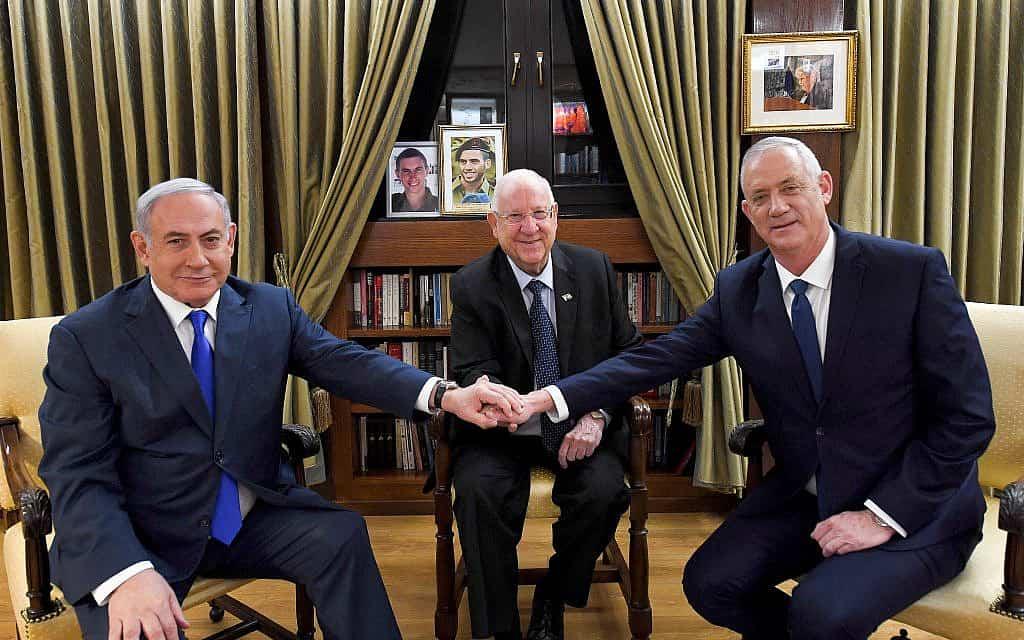 הנשיא רובי ריבלין, בנימין נתניהו ובני גנץ (צילום: Flash90-Haim-Zach-GPO)