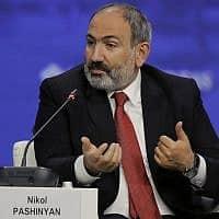 ראש ממשלת ארמניה, ניקול פשיניאן (צילום: Dmitri Lovetsky, AP)