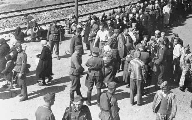 """אחת מתמונות """"אלבום אושוויץ"""" שצולמה מגג של קרון משא במאי 1944. כמה מקציני האס-אס ומהקרבנות היהודים שהגיעו למחנה באותו טרנספורט זוהו (צילום: יד ושם)"""