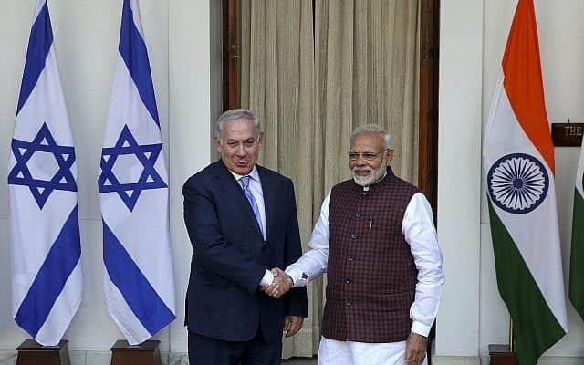 ראש ממשלת ישראל, בנימין נתניהו, וראש ממשלת הודו, נרנדרה מודי, בניו דלהי, 2018 (צילום: AP)