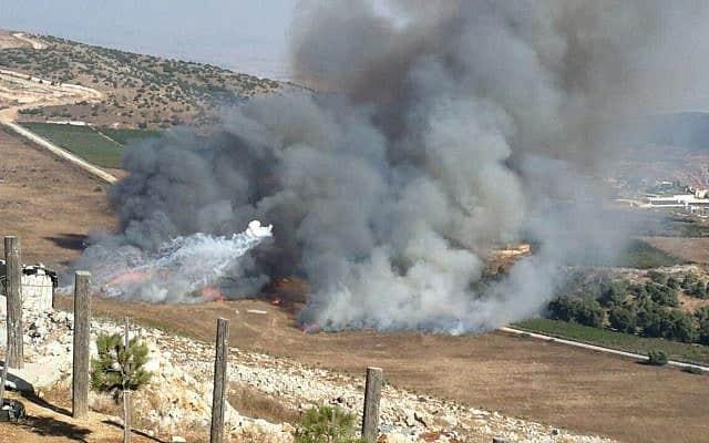 עשן באזור היישוב אביבים בעקבות תקיפה מלבנון, ה-1 בספטמבר 2019