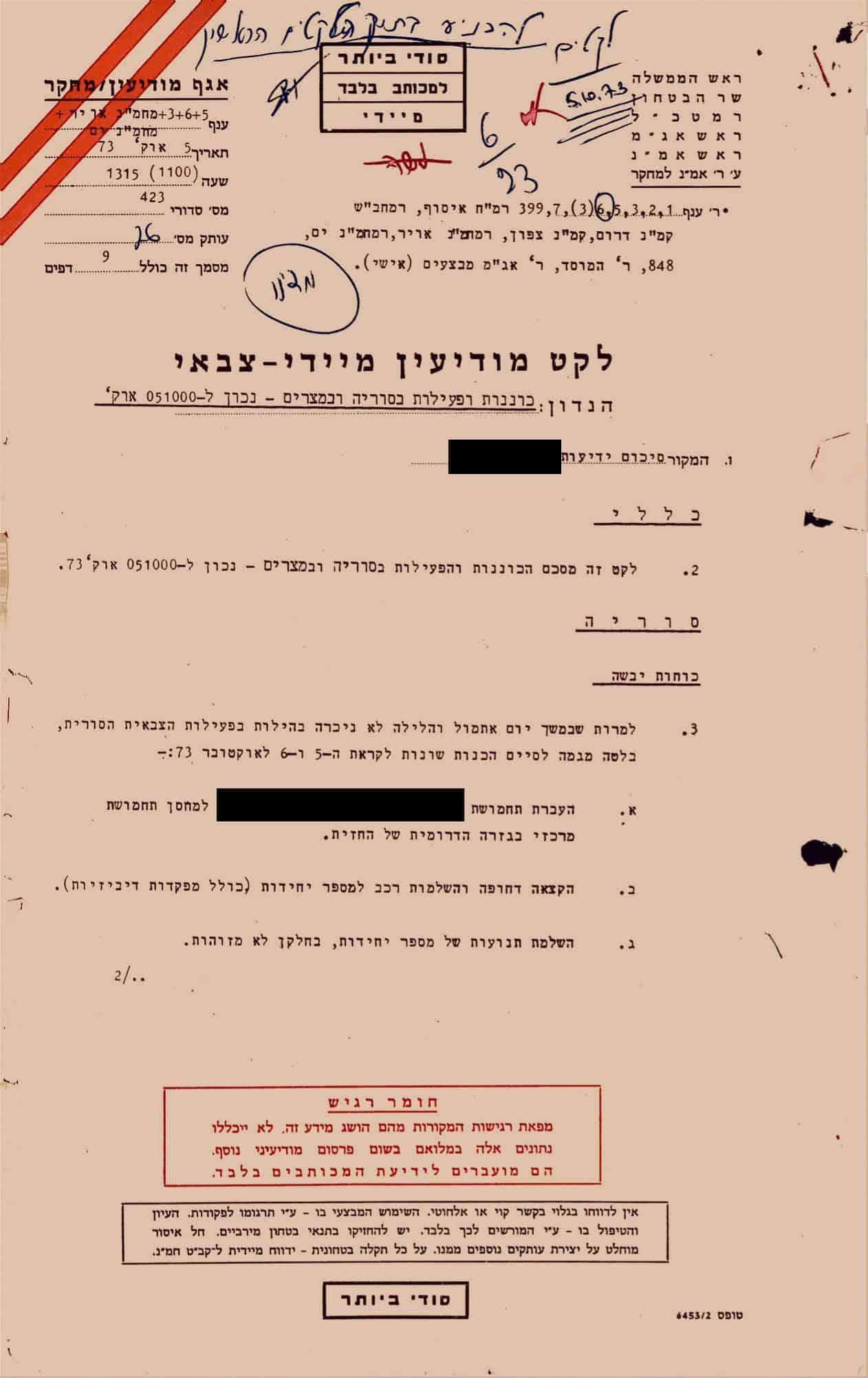 """העמוד הראשון של דוח המודיעין שניתן לרמטכ""""ל ולשר הביטחון יום לפני פריצתה של מלחמת יום כיפור, ב-5 באוקטובר 1973 (צילום: ארכיון משרד הביטחון)"""