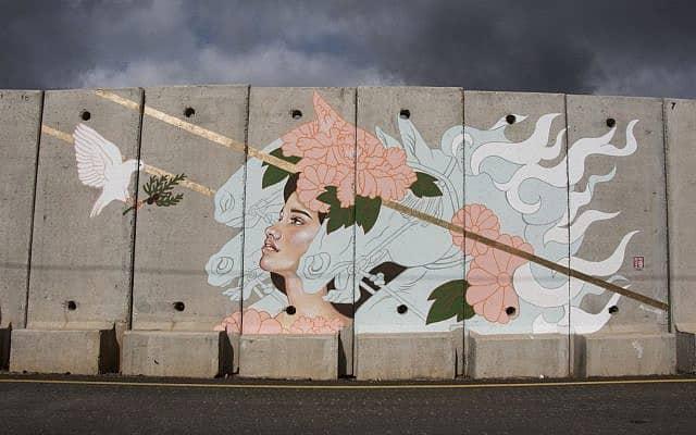 ציור קיר של רוברטסון על גבול ישראל-לבנון (צילום: באדיבות רוברטסון)