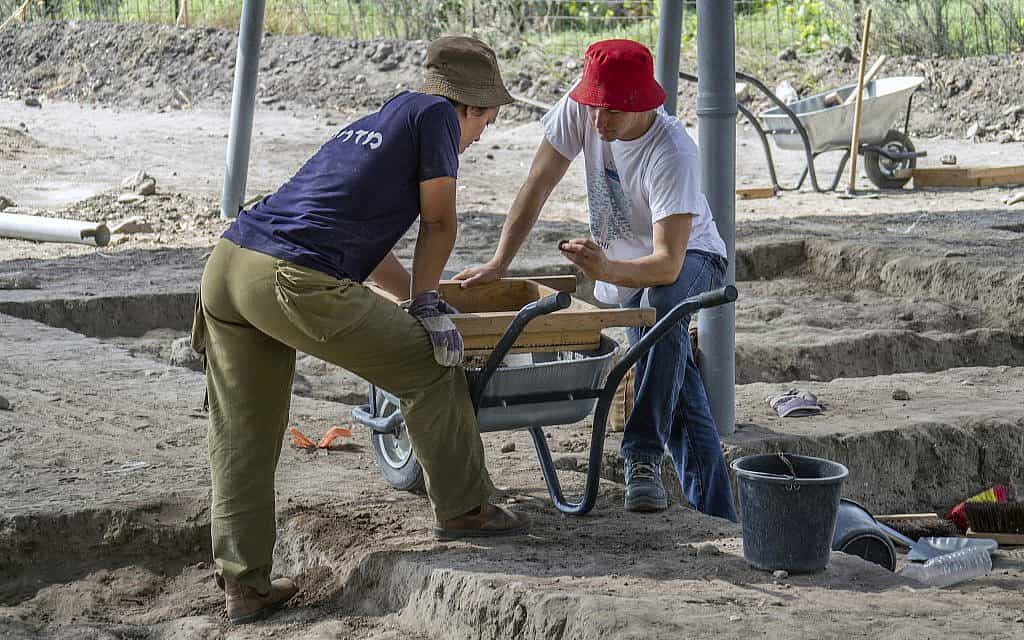 אלפי בני נוער ומתנדבים אחרים השתתפו בחפירות באתר החפירות מתקופת הברונזה הקדומה ליד חריש המודרנית (צילום: יניב ברמן, רשות העתיקות)