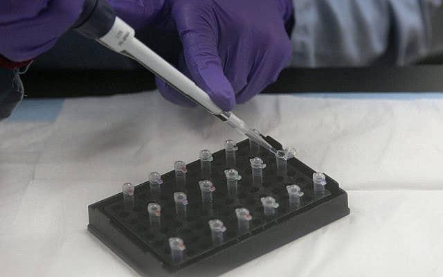 """צילום אילוסטרציה: בדיקת דנ""""א מיטוכונדריאלי במעבדה של מחלקת המשפטים של מדינת קליפורניה בריצ'מונד, קליפורניה, 17 בפברואר 2012 (צילום: סוכנות הידיעות האמריקאית/ג'ף צ'יו)"""