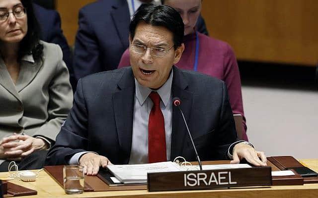 דני דנון בדיון על סוריה במועצת הביטחון של האו״ם, ב-22 בינואר 2019 (צילום: AP Photo/Richard Drew)
