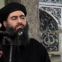 """אבו-באכר אל בגדדי, בכיר דאע""""ש שחוסל באוקטובר (צילום: Militant video via AP, File))"""