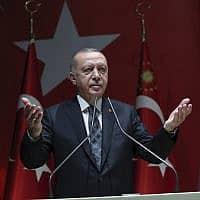 ארדואן נואם באנקרה, ב-10 באוקטובר 2019 (צילום: (Turkish Presidency Press Service via AP)