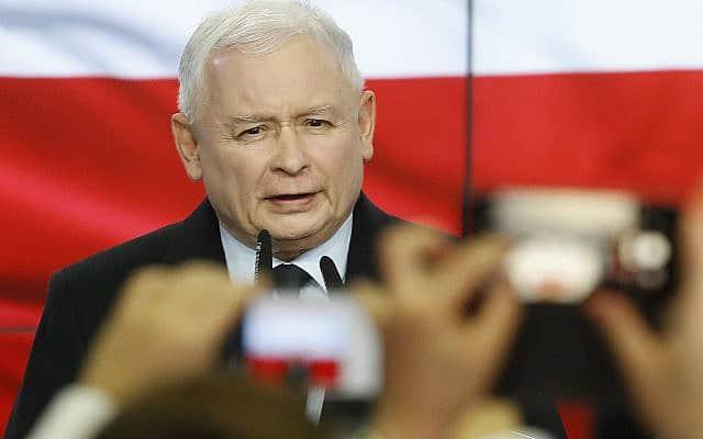 ירוסלב קצ'ינסקי, יו״ר מפלגת החוק והצדק, אשר זכתה בבחירות בפולין, ב-13 באוקטובר 2019 (צילום: AP Photo)