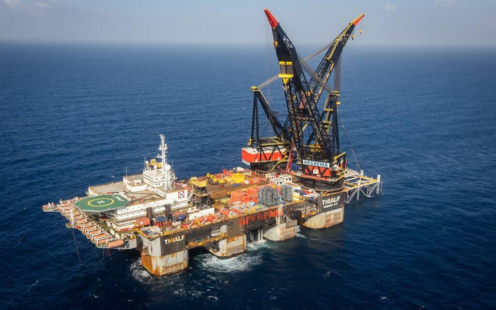 אסדת הגז לוויתן, הממוקמת ליד קיסריה (צילום: Marc Israel Sellem/POOL)