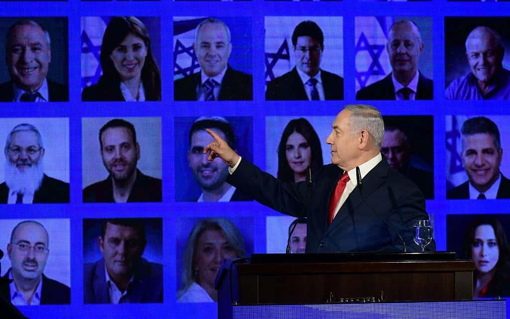 ראש הממשלה בנימין נתניהו בהשקת קמפיין הבחירות של הליכוד ברמת גן, 4 במרס, 2019 (צילום: אהרון קרון\פלאש 90)