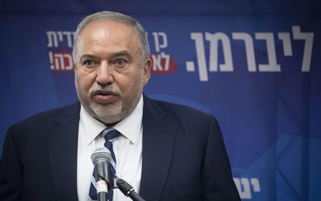 אביגדור ליברמן בישיבת סיעת ישראל ביתנו בכנסת, ב-28 באוקטובר 2019 (צילום: הדס פרוש/פלאש90)