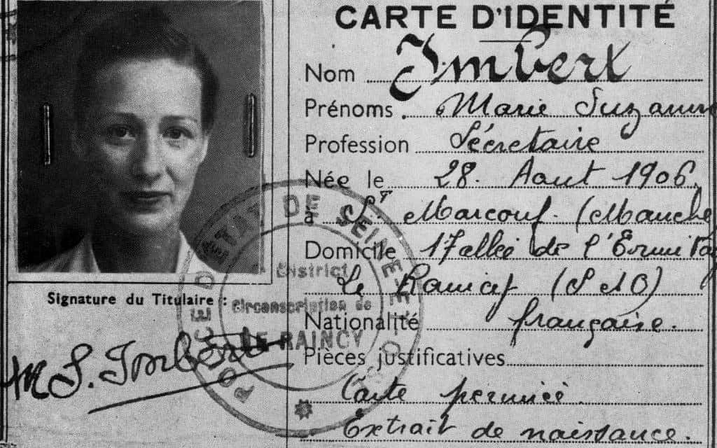תעודת הזהות המזוייפת של מארי-מדלן פורקאד במהלך מלחמת העולם השנייה (צילום: Granger)