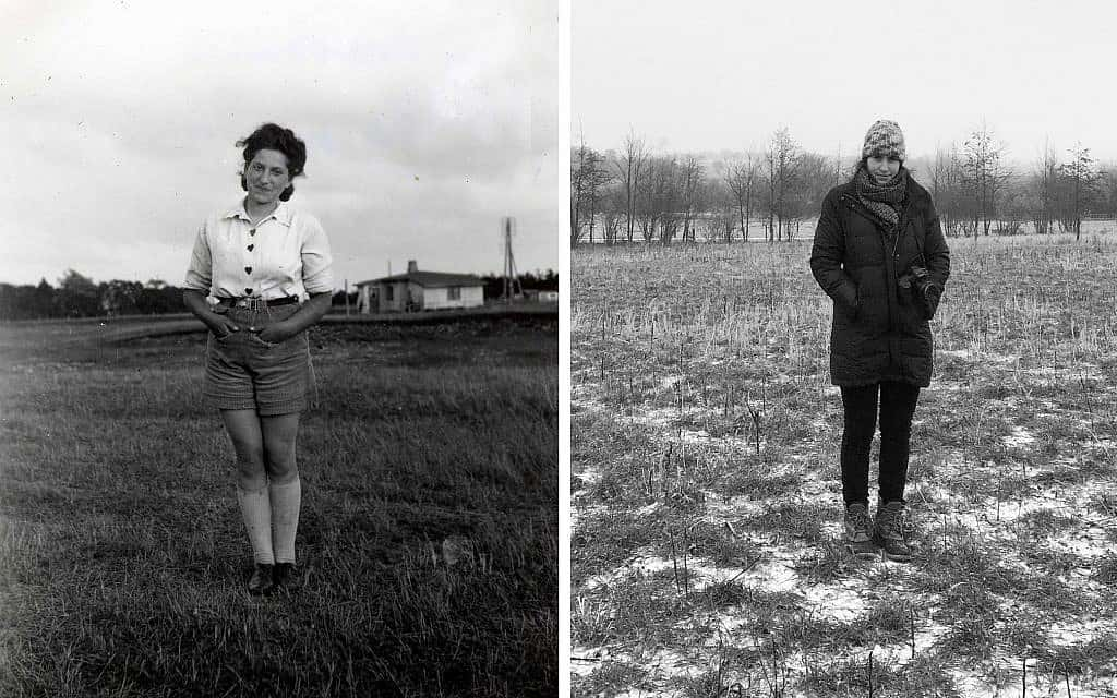 חנה דובובה (שמאל) ב-1942 ורייצ'ל קרוטי בדנמרק, 2017 (צילום: באדיבות המרואיינית)