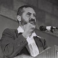 מאיר כהנא נואם בכנסת ב-24 באוגוסט 1984 (צילום: יוסי זמיר/פלאש90)