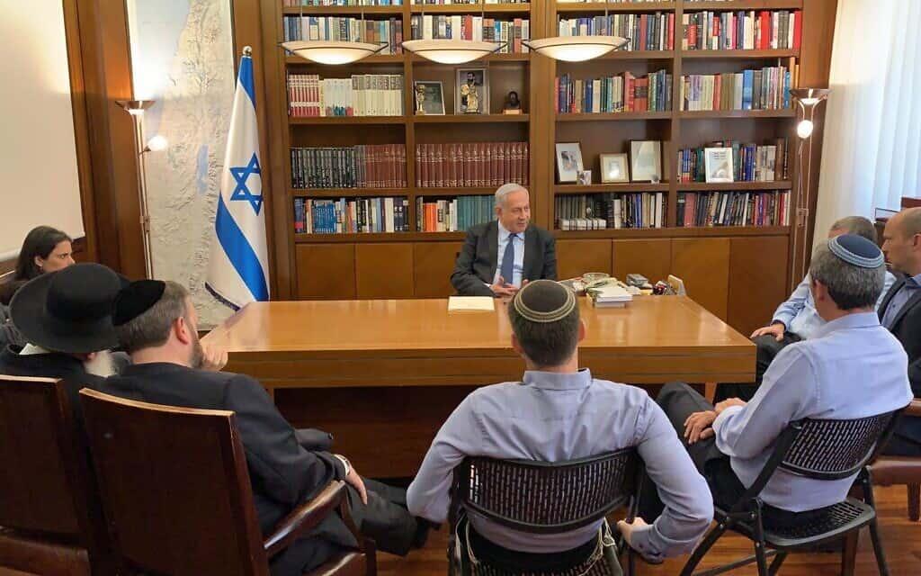 פגישת ראשי בלוק הימין עם ראש הממשלה נתניהו, היום אחר הצהריים (צילום: ללא)