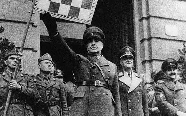 """אנטה פאבליץ', שעמד בראש ארגון האוסטאשה הפשיסטי, היה מנהיגה של המדינה העצמאית של קרואטיה בתקופת מלחמת העולם השנייה (צילום: """"יאסנובאץ: האושוויץ של הבלקן"""")"""