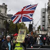 תומכי ברקזיט מפגינים מול הפרלמנט הבריטי (צילום: Alberto Pezzali, AP)