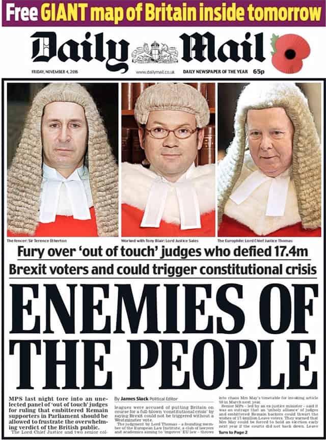 שער עיתון הדיילי מייל, המכריז על שופטי בית המשפט העליון כ״אויבי האומה״