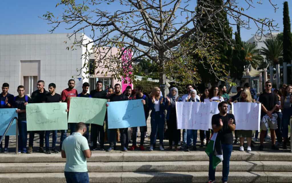 הפגנה של סטודנטים באונ' תל אביב נגד ההפצצות בעזה, היום. הג'יהאד האיסלאמי הפר את הפסקת האש מספר פעמים במהלך היום (צילום: תומר נויברג / פלאש 90)