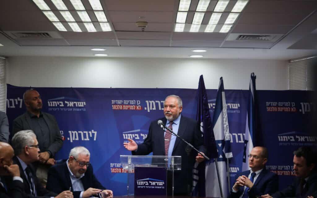 ליברמן בישיבת ישראל ביתנו היום (צילום: הדס פרוש / פלאש 90)