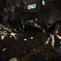 מבנה שהפציצה ישראל היום ובו שהה בהא אבו אל-עטא, ממפקדי הגי'האד האיסלאמי (צילום: Khalil Hamra, AP)