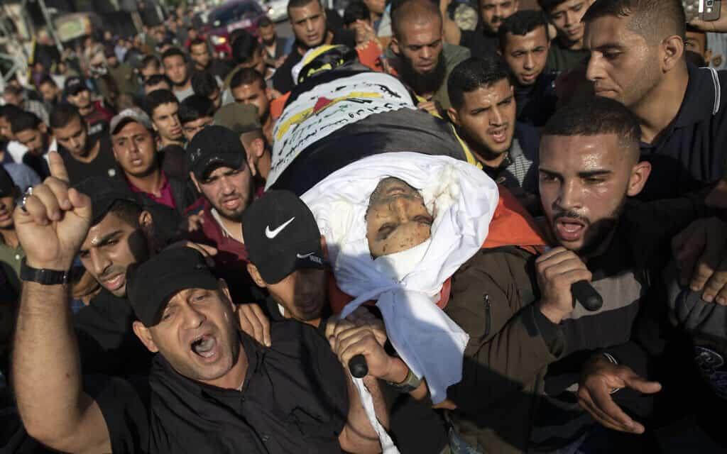 הלוויתו של בהאא אבו אל עטא בעזה. 12 בנובמבר 2019 (צילום: Hassan Jedi/Flash90)