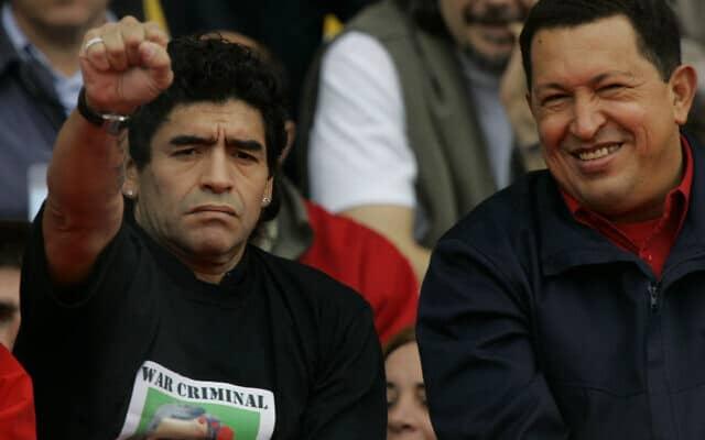מרדונה, חבר של הוגו צ׳אבז. לא חבר של מקרי (צילום: AP Photo/Marcelo Hernandez)