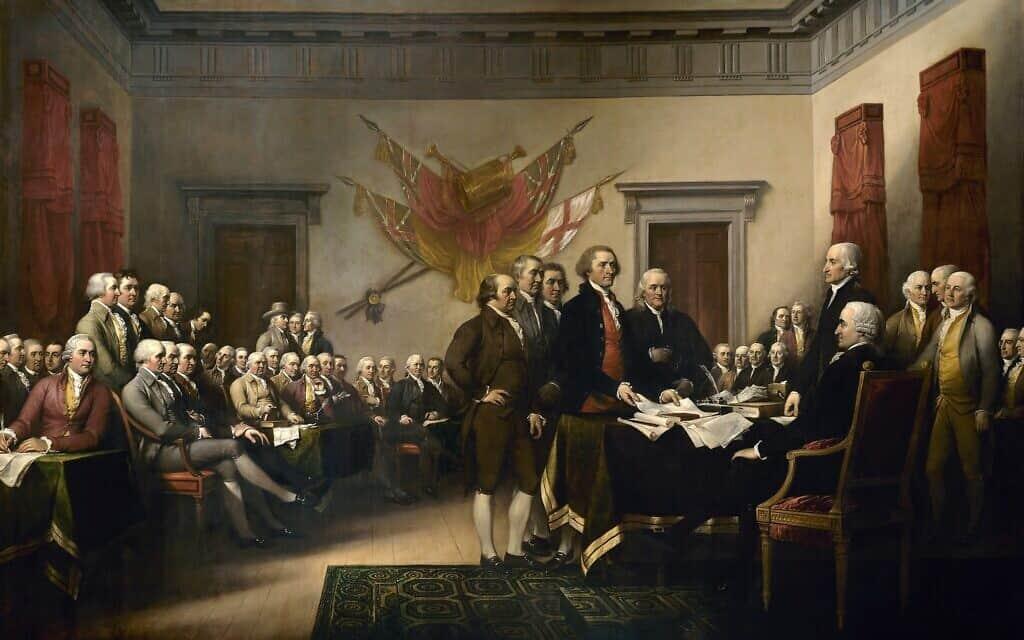 הציור של ג'ון טרמבול מ-1819 מתאר את ועדת הניסוח של הצהרת העצמאות האמריקאית המציגה את עבודה לקונגרס (צילום: ויקיפדיה\ג'ון טרומבול\נחלת הציבור)