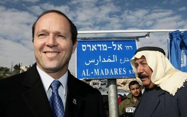 אז-ראש עיירית ירושלים ניר ברקת חונך רחוב חדש בשכונת עיסאוויה (צילום: קובי גדעון/פלאש90)