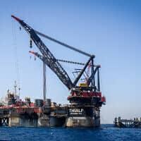 אסדת הגז לווייתן מול חופי קיסריה (צילום: Marc Israel Sellem/POOL)