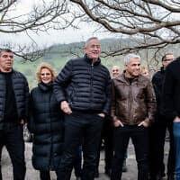 ראשי רשימת כחול לבן על הגבול עם סוריה. 4 במרץ 2019 (צילום: Basel Awidat/Flash90)
