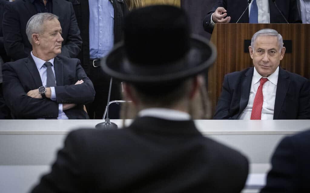 בנימין נתניהו ובני גנץ באזכרה לרב עובדיה יוסף, 4 בנובמבר 2019 (צילום: הדס פרוש/פלאש90)