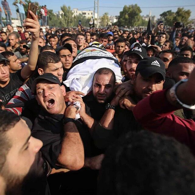 הלוויתו של בהאא אבו אל עטא בעזה. 12 בנובמבר 2019