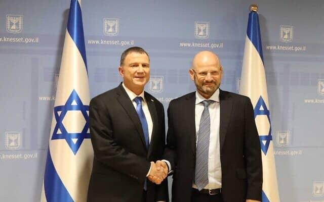 יורם טורבוביץ' (מימין) ויולי אדלשטיין בכנסת