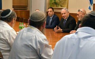 """פגישת ראש הממשלה בנימין נתניהו עם ראשי מועצת יש""""ע (צילום: קובי גדעון/לע״מ)"""