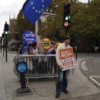 מוחים מפגינים בעד ונגד הישארות בריטניה באיחוד האירופי (צילום: Alastair Grant, AP)