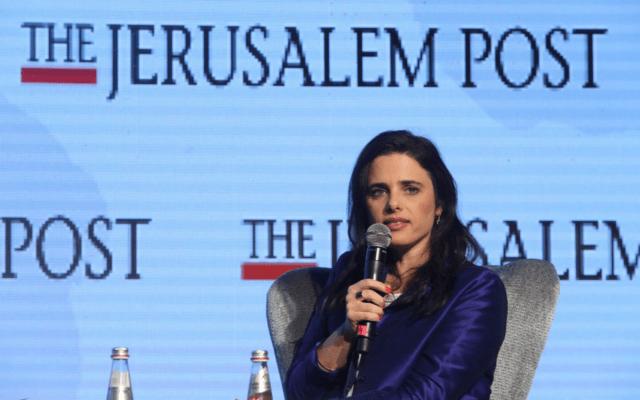 איילת שקד בוועידת הדיפלומטים של הג'רוזלם פוסט (צילום: מארק ישראל סלם, פלאש 90)